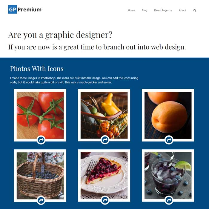 GeneratePress page with image icons made in PhotoShop